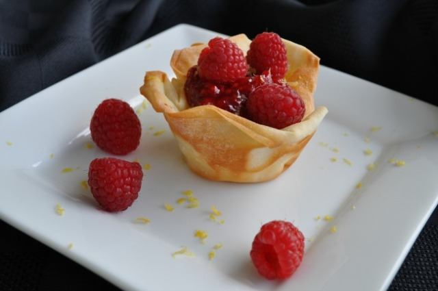 Lemon Cream in Phyllo with Raspberries