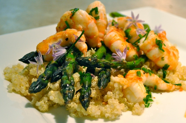 asparagus with spot prawns on quinoa by joinmefordinner