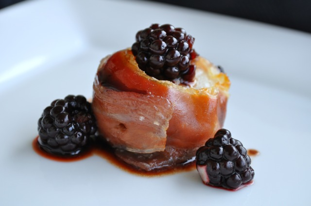 Prosciutto Wrapped Scallops with Blackberry Balsamic Drizzle