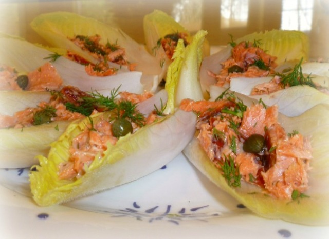 smoked salmon on endive appetizer