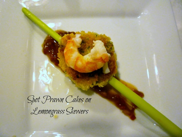 Spot Prawn Cakes on Lemongrass Skewers