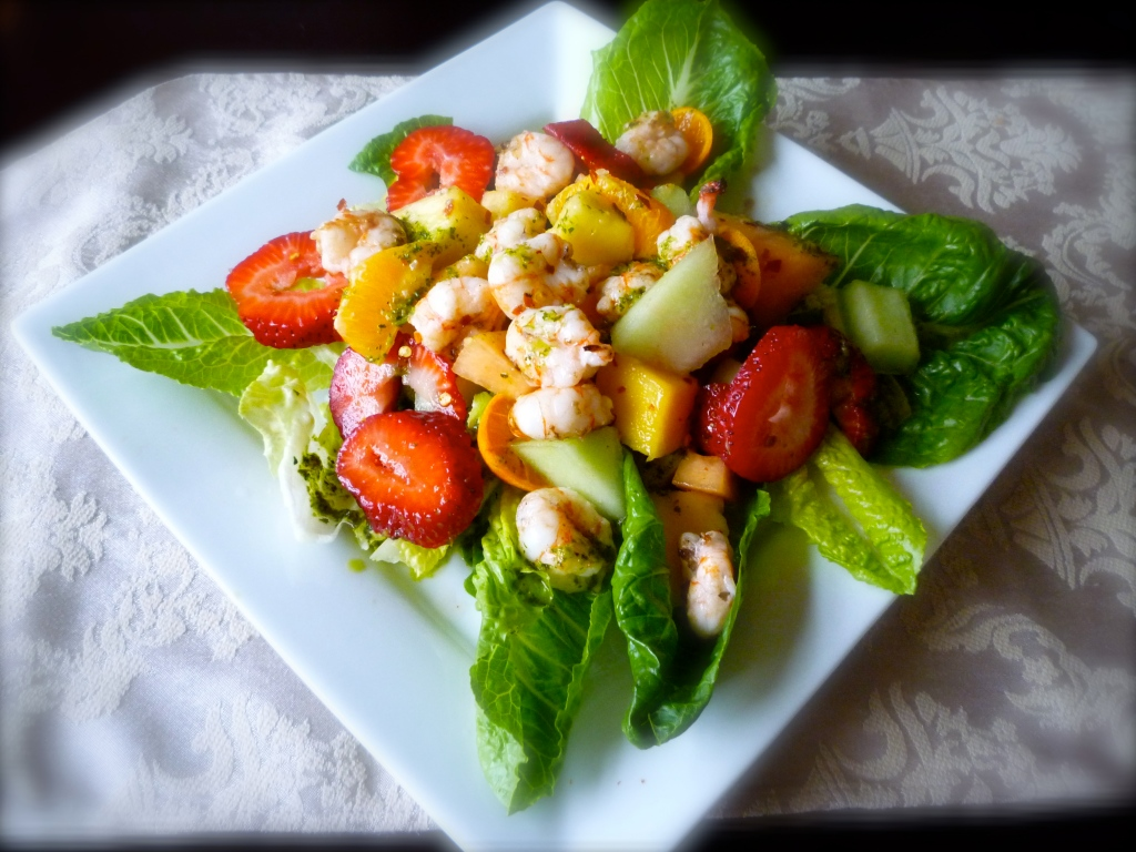 Mexican Fruit Salad with Prawns and Tequila Lime Dressing