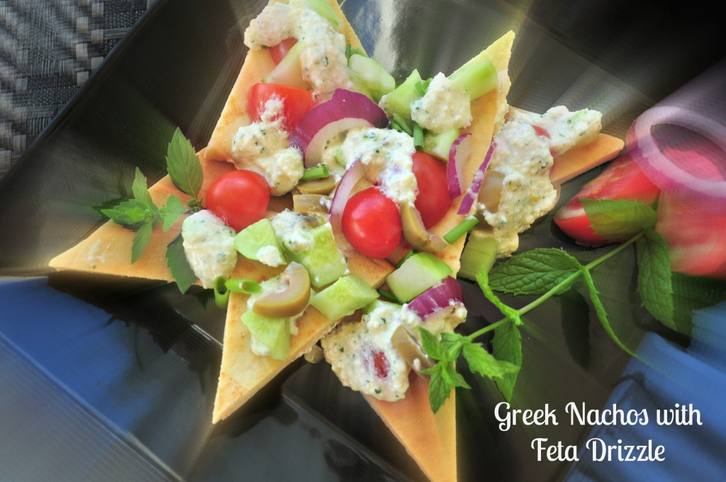 "Greek ""Nachos"" with Feta Drizzle"