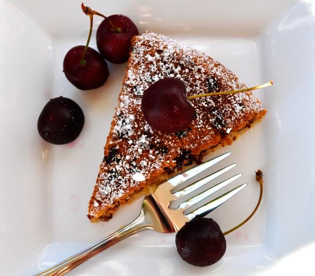 Cherry Almond Polenta Cake