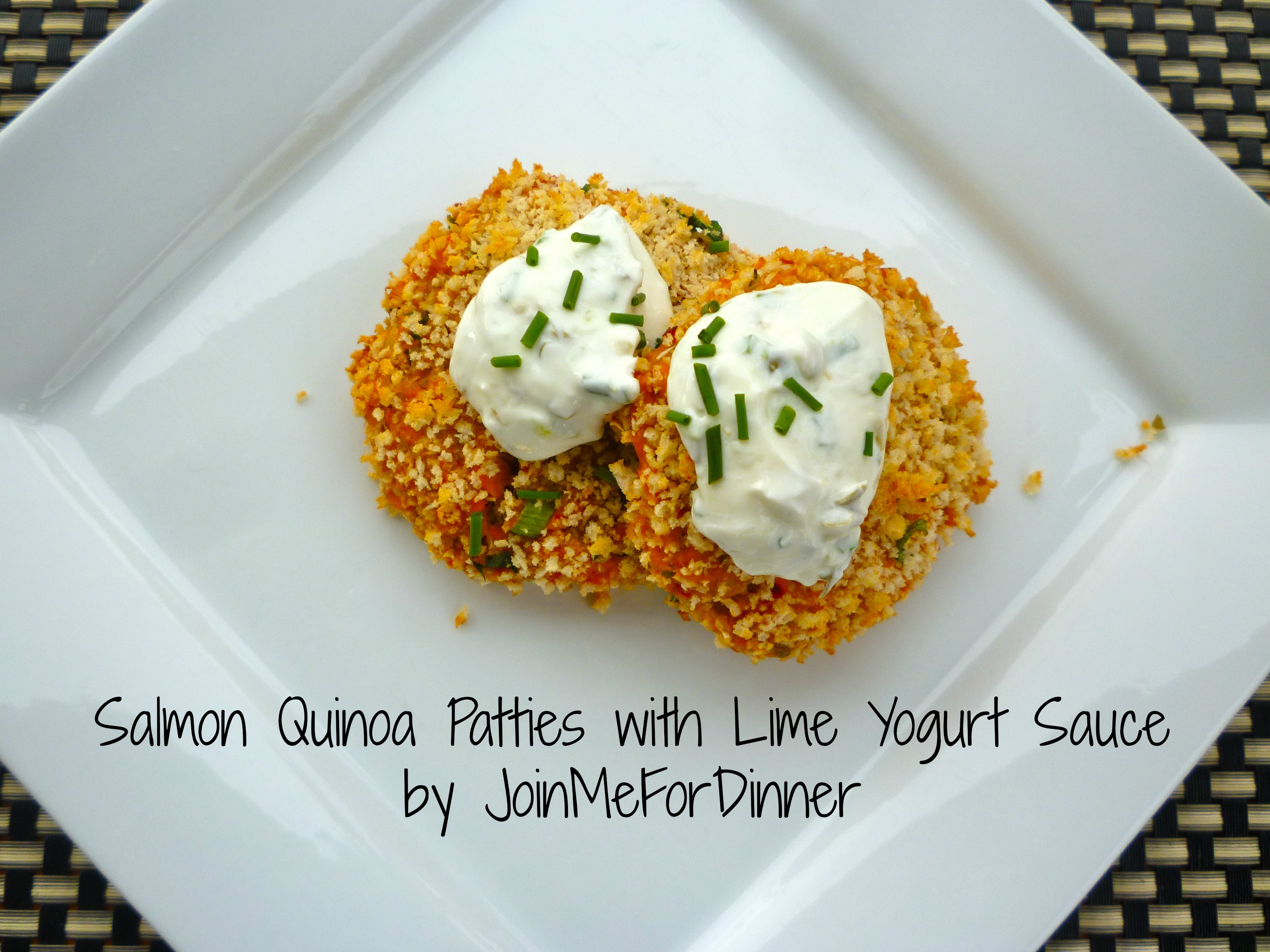 Salmon-Quinoa Patties with Lime Yogurt Sauce | joinmefordinner