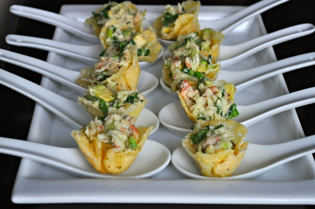 Crab 'n Lime Avocado Salad in Parmesan Crisp Cups
