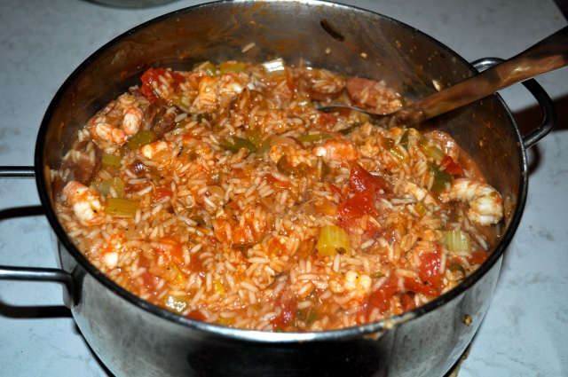 Creole Style Chicken, Sausage and Prawn Jambalaya