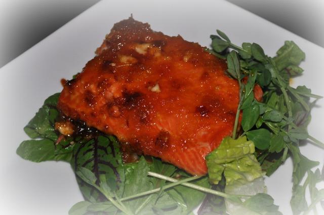 citrus sake-lacquered salmon