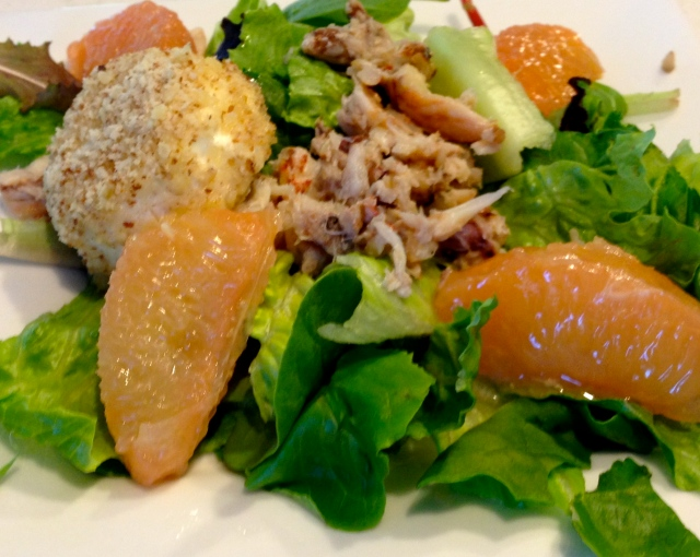 Dungeness Crab Salad with Grapefruit and Goat Cheese Medallions