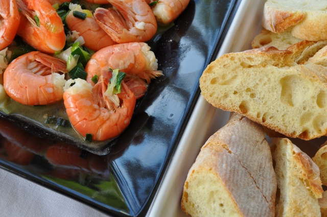 Gin Gingered Spot Prawns with Warm Baguette