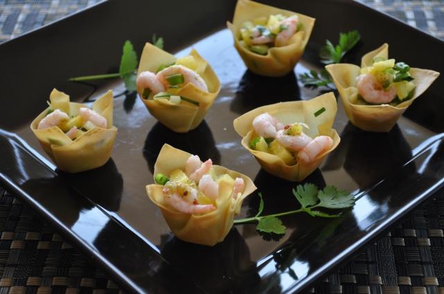 Shrimp Salad in Wonton Cups