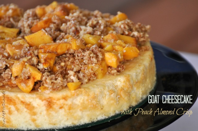 Goat Cheesecake with Peach Almond Crisp
