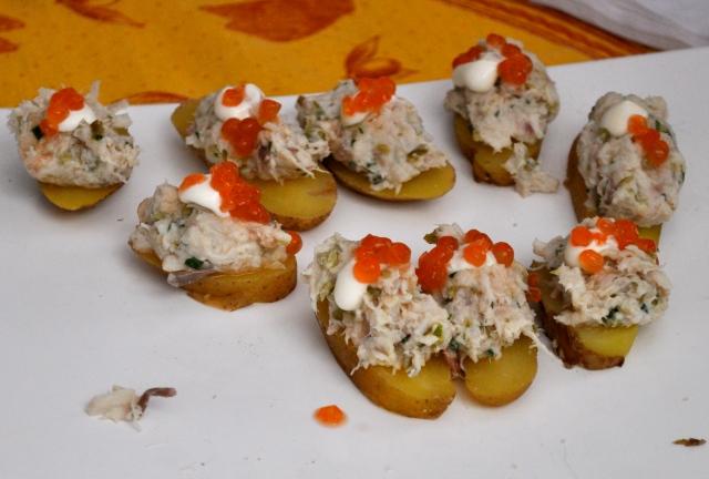 Smoked Sturgeon on Roasted Potato Slices