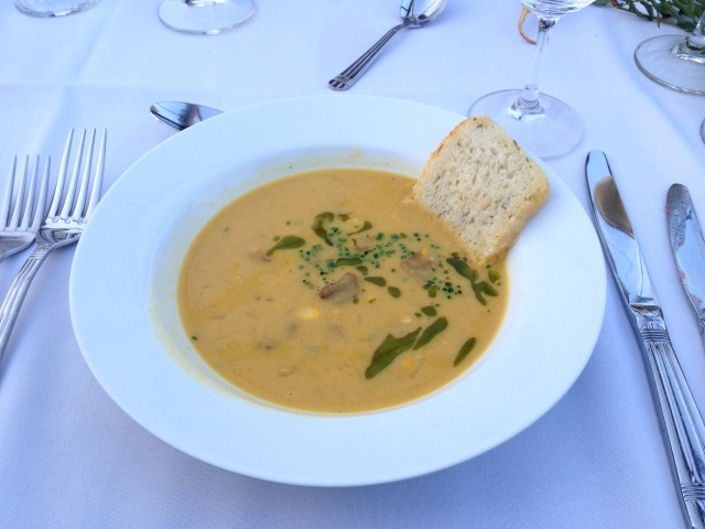 Dan Hudson's Corn and lobster mushroom soup