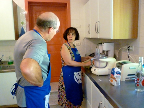 In Letizia's kitchen in her B&B near Assisi, Italy learning to make pasta