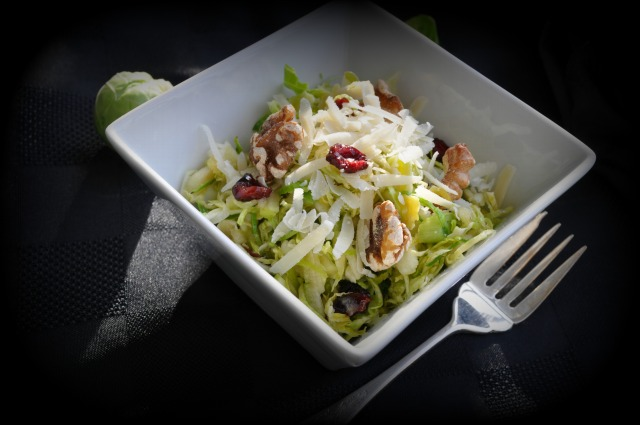 Shaved Brussel Sprout Salad with Cranberries and Parmesan