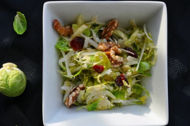 Shaved Brussel Sprout Salad with Cranberries and Apple
